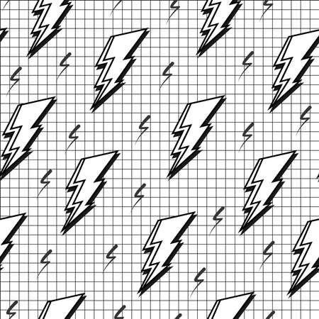 fabric art: Black and white retro seamless pattern with pop art lightning bolt, 80s fashion style. Ideal for web background, print or fabric. EPS10 vector.