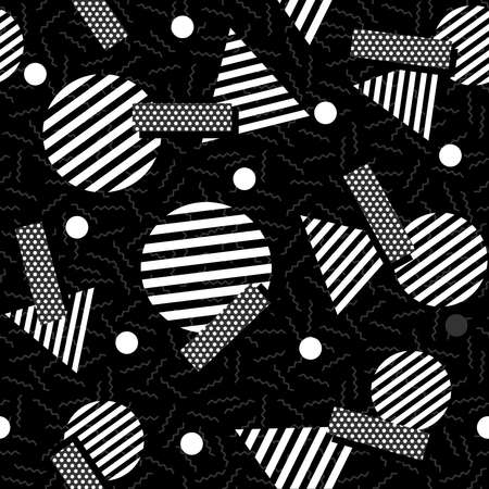 graphic elements: Black and white retro seamless pattern with geometric shapes in 80s memphis fashion style. Ideal for web background, print or fabric. EPS10 vector. Illustration