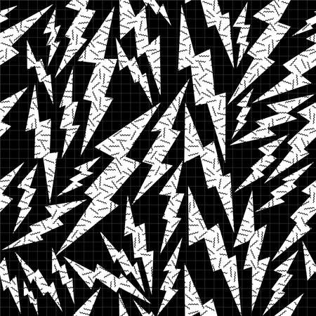fabric art: Black and white retro seamless pattern with pop art thunder bolt, 80s fashion style. Ideal for web background, print or fabric. EPS10 vector.