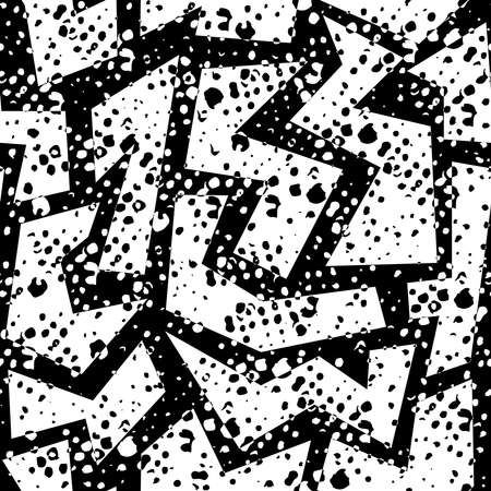 Black and white retro 80s seamless pattern with geometric shapes, grunge texture in memphis fashion style. Ideal for web background, print or fabric. EPS10 vector.