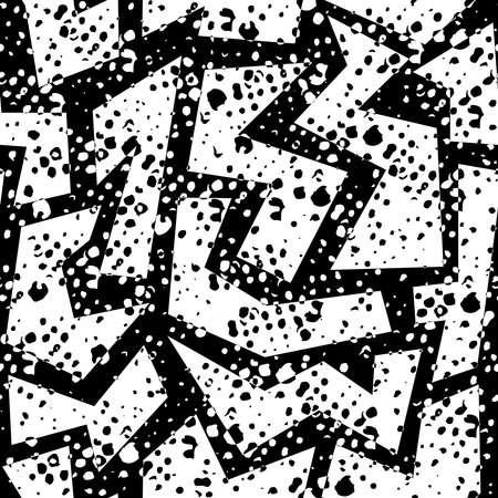Zwart en wit retro jaren '80 naadloze patroon met geometrische vormen, grunge textuur in Memphis mode-stijl. Ideaal voor web achtergrond, print of stof. EPS10 vector.