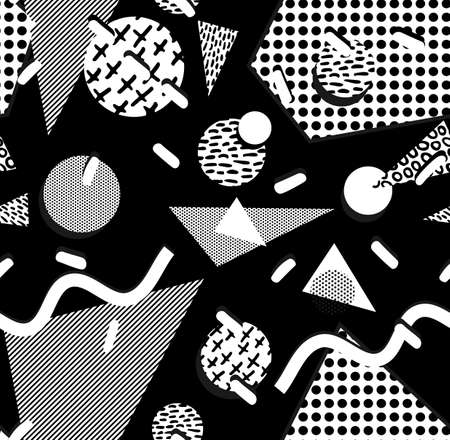 fashion design: Black and white retro seamless pattern with geometric shapes, triangle, square, circle, in 80s memphis fashion style. Ideal for web background, print or fabric. EPS10 vector.