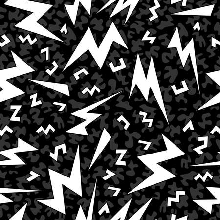 fabric art: Black and white retro seamless pattern with pop art geometric shape, 80s fashion style. Ideal for web background, print or fabric. EPS10 vector.
