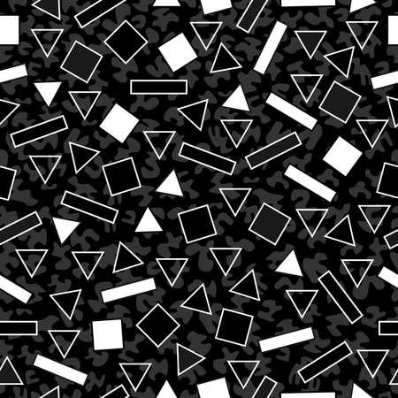 유행: 80 년대 멤피스 패션 스타일에 검은 색과 흰색 형상 레트로 원활한 패턴입니다. 웹 배경, 인쇄 또는 직물에 적합합니다. EPS10 벡터입니다.