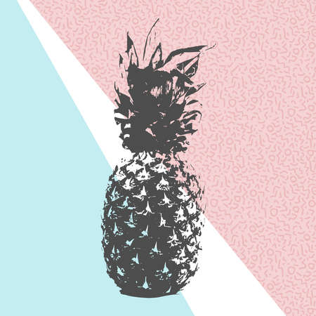 pink and black: Retro 80s summer concept illustration of pineapple fruit black and white design with memphis style shapes background in soft pink blue colors. vector.