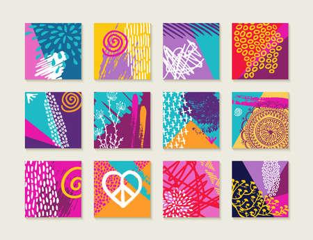 Kleurrijke zomer stijl label illustratie set met de natuur elementen, planten, bloemen, liefde en vrolijke designs. vector. Stock Illustratie