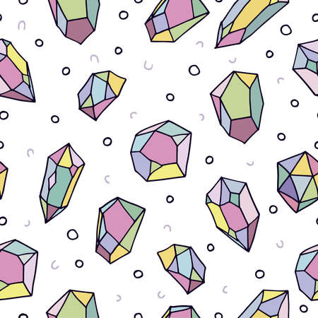 diamond stones: Cute 80s style art seamless pattern of colorful crystal mineral stones in soft pastel colors, simple hand drawn rainbow diamond rocks on white background. vector.