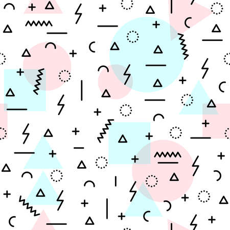 80's: Retro seamless pattern in soft pastel pink blue colors with geometric shapes, 80s memphis fashion style. Ideal for web background, print or fabric.  vector.