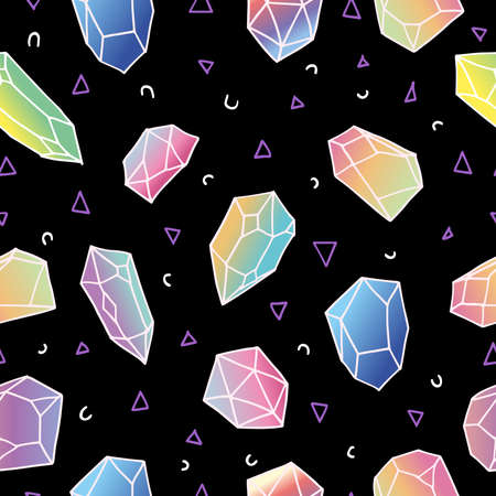 '80s: Modern 80s style seamless pattern of colorful crystal mineral stones in soft pastel colors, simple hand drawn diamond rocks on black background.vector.