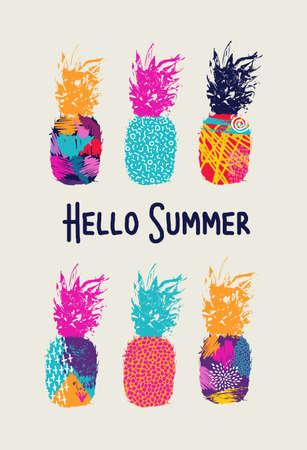 Hallo Sommer Schriftzug Konzept-Design, Ananas-Frucht mit glücklich leuchtenden Farben und Retro-Stil der 80er Jahre Kunst-Elemente. EPS10 Vektor.