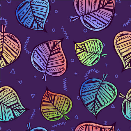 holographic: Retro summer seamless pattern with leaves in colorful boho tribal style, holographic color gradient leaf background ideal for print or fabric. vector.