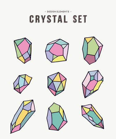 diamond stones: Set of 80s style colorful crystal mineral stones drawn elements in soft pastel colors, simple hand drawn diamond rock icons on white background. vector.