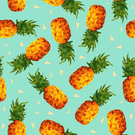 현대 여름 원활한 패턴, 형상 삼각형 도형이 낮은 폴 리 스타일에서 다채로운 파인애플 과일 배경 벡터.