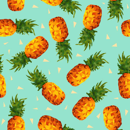 Modern summer seamless pattern, colorful pineapple fruit background in low poly style with geometric triangle shapes vector. Vettoriali
