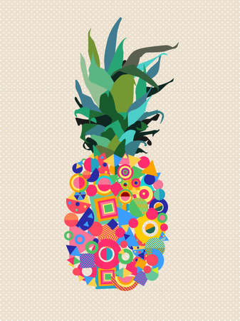 Colorful summer illustration of pineapple fruit design with geometric modern shapes in happy vibrant colors. vector.
