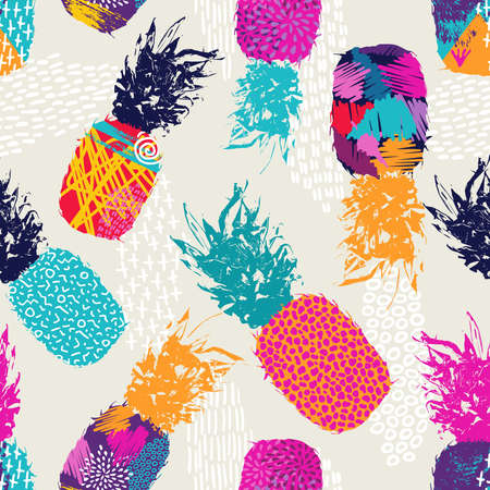 Retro summer seamless pattern design, pineapple fruit with happy vibrant colors and retro 80s style art elements. vector.