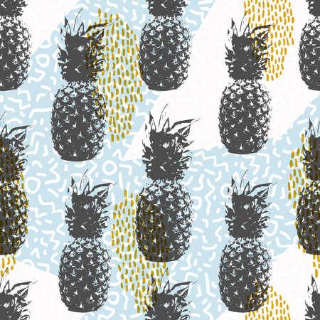 Rétro 80s été seamless style memphis formes de fond dans des couleurs douces avec des éléments d'ananas de fruits. vecteur.