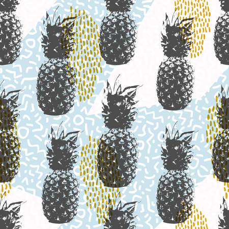 retro wallpaper: Retro 80s summer seamless pattern, memphis style shapes background in soft colors with pineapple fruit elements. vector.
