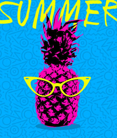 retro glasses: Retro 80s summer concept illustration of pineapple fruit with hipster eye glasses and memphis style shapes background in vibrant high contrast colors. vector. Illustration