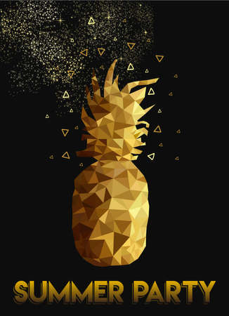 party night: Retro summer party celebration design of pineapple in gold low poly style with night sky and stars background for invitation or greeting card. vector. Illustration