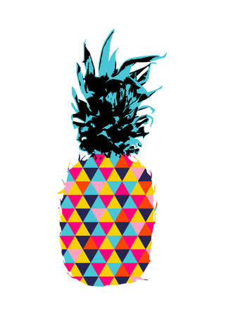 Colorful summer concept illustration of pineapple fruit design with geometric triangle shapes in funky vibrant colors. vector.