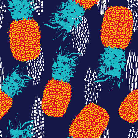 80s: Retro summer seamless pattern design, pineapple fruit with vintage vibrant colors and 80s style art. vector.