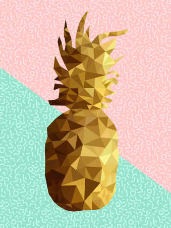 Retro summer concept illustration of pineapple fruit gold low poly design with memphis style shapes background in soft pink blue colors.  vector.