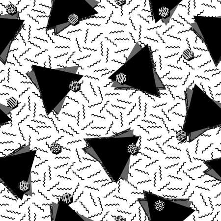 80's: Vintage seamless pattern in black and white with retro geometric triangle shape design, 80s memphis fashion style. Ideal for web background, print or fabric. vector. Illustration