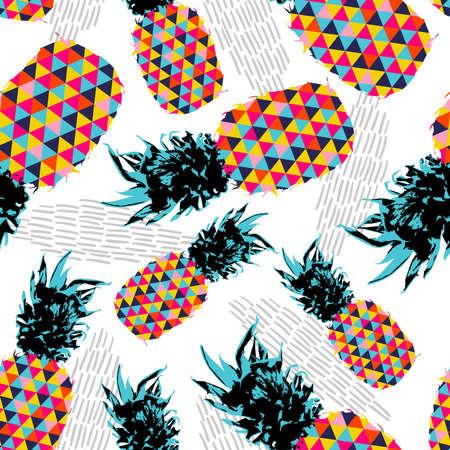 Zomer naadloze patroon ontwerp, ananas fruit met vrolijke levendige kleuren en retro hipster geometrische kunst elementen. vector.