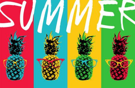 Concepto de ilustración retro 80s verano de la fruta del arte pop de piña con los vidrios del ojo inconformista y colores de fondo en colores vibrantes. vector. Foto de archivo - 58730175