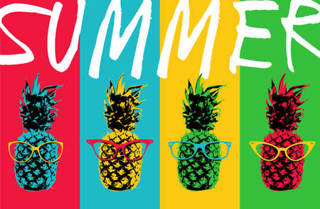 Retro 80s summer concept illustration of pop art pineapple fruit with hipster eye glasses and colorful background in vibrant colors.  vector.