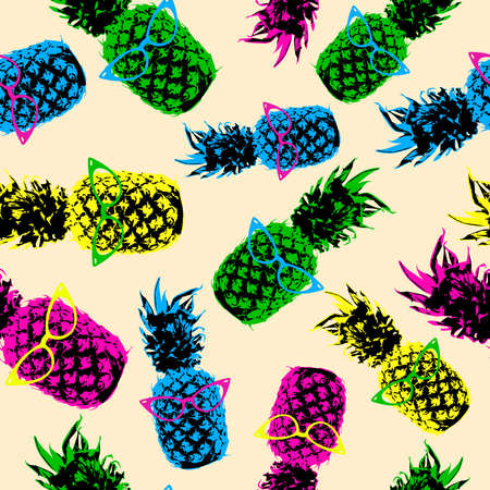 Retro 80s summer seamless pattern, hipster style pineapple fruit elements with vintage eye glasses in high contrast vibrant color. vector.