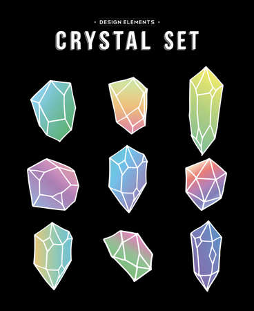 diamond stones: Set of 80s style colorful crystal mineral stones elements in soft pastel colors, simple hand drawn diamond rock icons on black background. vector. Illustration