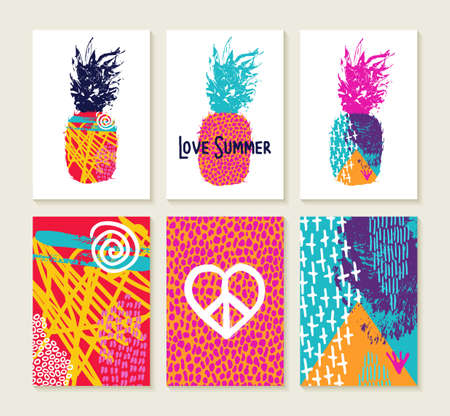 Set of happy colorful summer greeting card designs with 80s style pineapple and art elements, fun boho pop trend illustration collection. EPS10 vector.