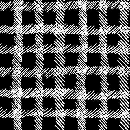 web backdrop: Retro boho black and white seamless pattern background, hand drawn checkered square lines. Ideal for fabric design, paper print or web backdrop.