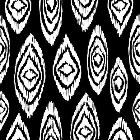 Print design: Black and white hand drawn paint elements in vintage boho fashion style, seamless pattern background. Ideal for fabric design, paper print or web backdrop.