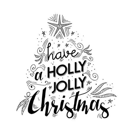 Merry Christmas Lettering Handwritten Design Holly Jolly Happy