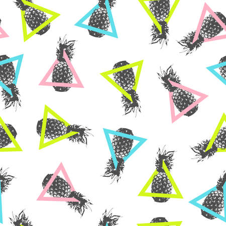 Abstract art seamless pattern with summer pineapple design and colorful geometric triangle shapes.