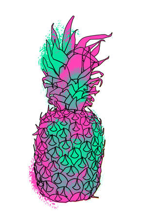 splatter paint: Modern pineapple fruit concept illustration for summer with colorful paint splatter effect.