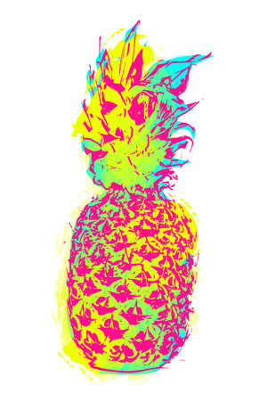 summer fruit: Modern pineapple fruit art in fun stencil paint style, colorful summer concept design on isolated background.