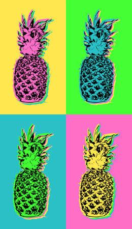 Kleurrijke zomer pop art design met retro ananas fruit illustraties in levendige hoog contrast kleuren.