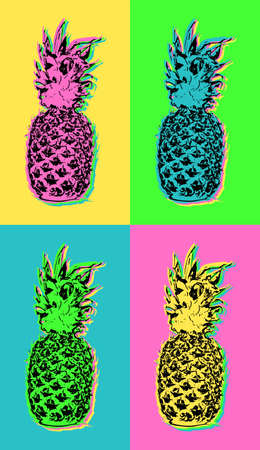 Colorful summer pop art design with retro pineapple fruit illustrations in vibrant high contrast colors.