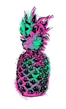 frutas divertidas: arte de la fruta de la piña de estilo moderno de la pintura de la plantilla de la diversión, diseño colorido concepto de verano en el fondo aislado.