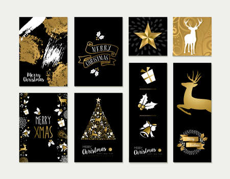 christmas gold: Set of merry christmas happy new year gold ornament decoration template designs with deer and celebration elements. Ideal for xmas greeting card. Illustration