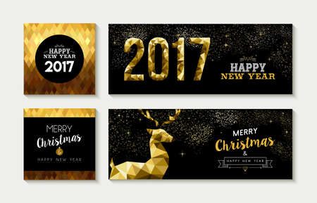 fancy: Set of merry christmas happy new year 2017 gold designs with deer elements. Ideal for xmas greeting card, holiday invitation, social media banner. Illustration