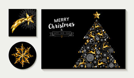 christmas gold: Set of merry Christmas greeting card layout designs with gold low poly reindeer, stars and holiday elements making xmas pine tree shape. EPS10 vector.