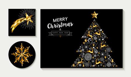 Set van merry Christmas wenskaart lay-out ontwerpen met gouden laag poly rendieren, sterren en vakantie elementen maken xmas pine boomvorm. EPS10 vector.
