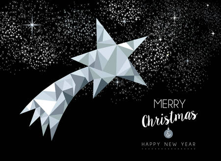 xmas star: Merry christmas and happy new year fancy silver shooting star in low poly style. Ideal for xmas greeting card or elegant holiday party invitation.