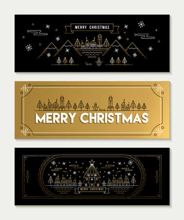 xmas decoration: Merry christmas gold social media banner set in modern line art style, festive city illustration with celebration elements and xmas decoration.