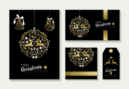 gold christmas background: Set of merry christmas happy new year gold templates with deer and celebration elements. Ideal for xmas greeting card, holiday invitation, tags or label. Illustration